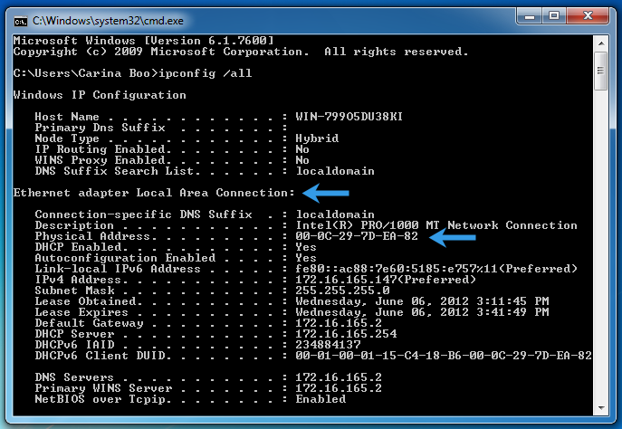 how to see mac address in windows